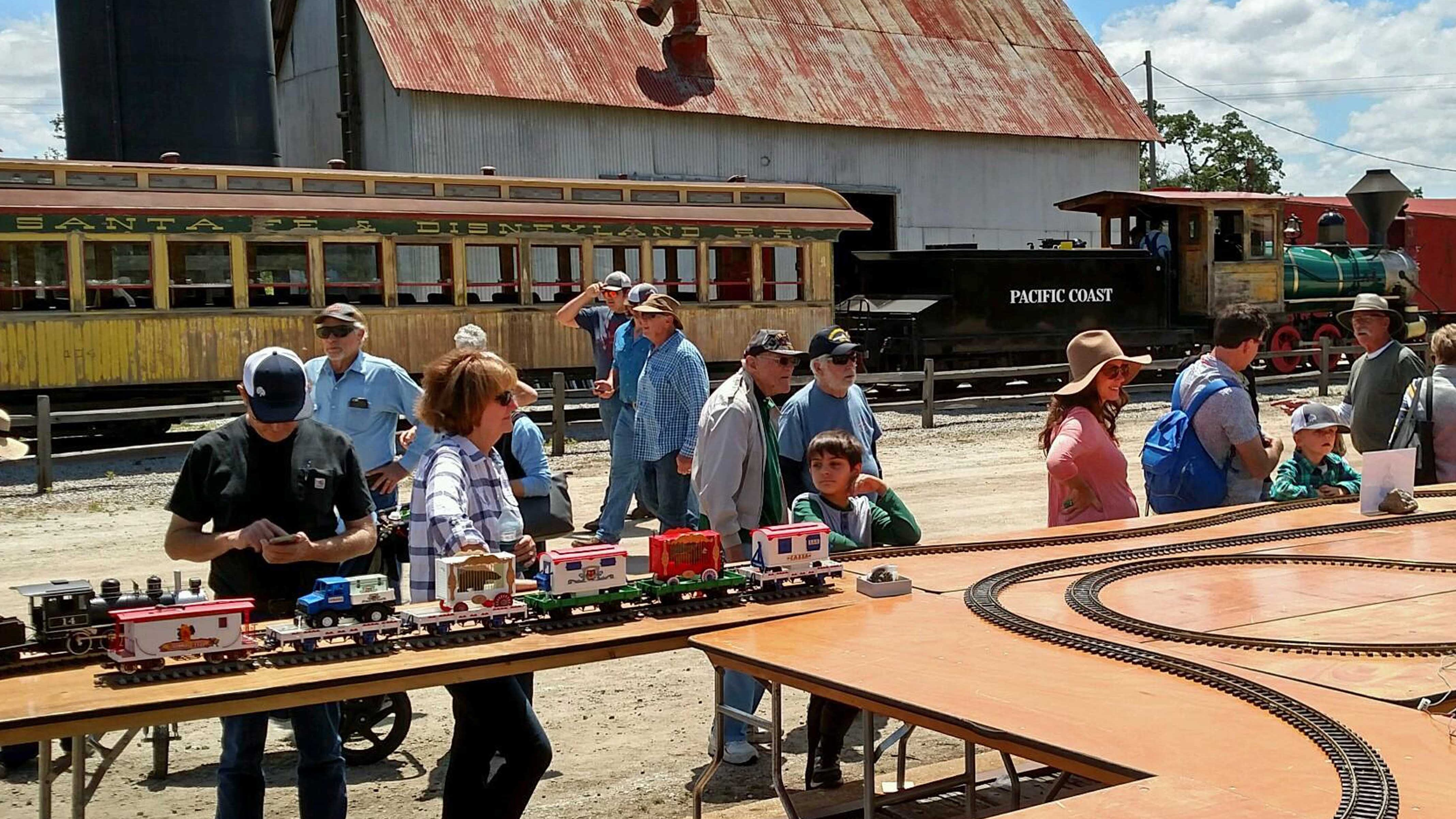 People watch large scale model trains